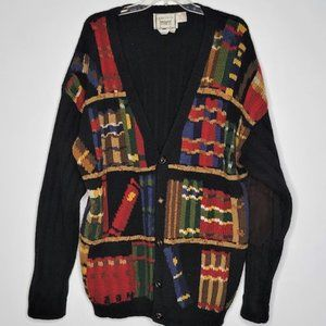 Vintage Mens L Hand Knit Wool Cardigan Suede Elbow Patches Library Book Shelves